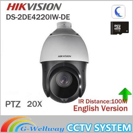 все цены на In stock Hikvision Original English 2MP PTZ DS-2DE4220IW-DE PTZ IP camera CCTV security Surveillance POE ONVIF POE CCTV Camera онлайн