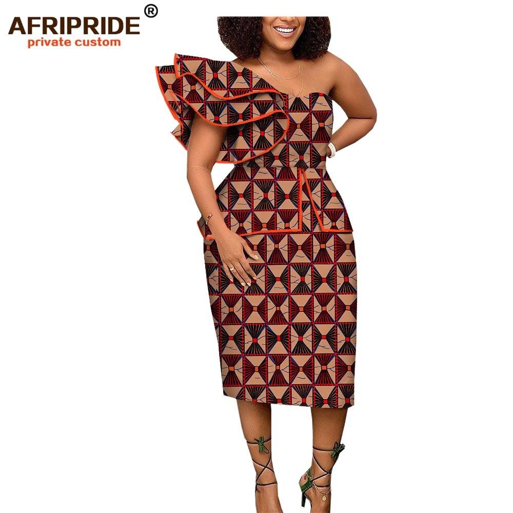 2019 african spring dress for women AFRIPRIDE short butterfly sleeve mid calf length one shoulder women