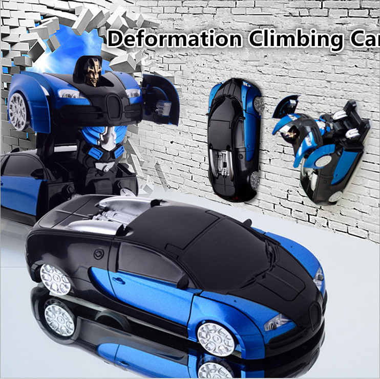 Bugatti stunt climb car Models Deformation Robot Transformation Remote Control RC climbing Car Toys strong adsorption