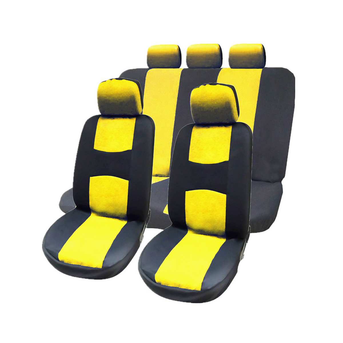 Super 9 Pcs Full Set Car Seat Covers With Detachable Headrests Universal Fit Interior Split Bench Covers Yellow Caraccident5 Cool Chair Designs And Ideas Caraccident5Info