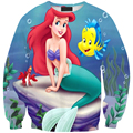 Creative pattern the little mermaid ariel princess print woman men sweatshirt hot cartoon character hoodie clothes