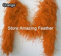 משלוח חינם 10 חצר/הרבה מדהים מלא ופלאפי orange 8ply צעיף נוצות יען 2 חצר/pc בורלסק + איכות