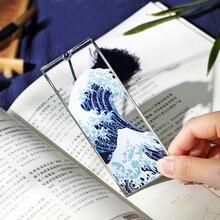 Ukiyo marcapáginas de Metal con diseño de gran ola de Kanagawa, marcapáginas de Metal creativo, Tesoro Nacional, japonés, 1 Uds.