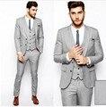 Guapo Gris Trajes de Boda Del Padrino de Boda Trajes para Hombres (Jacket + Pants + vest + tie) 3 Unidades Novio esmoquin Formal de Los Hombres Traje de Negocios