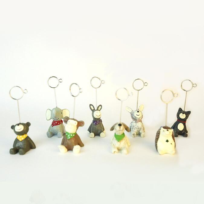 Metal Resin Cute ZOO Animal Paper Photo Clip Holder Wedding Party Photo Ornaments Note Clip Decorative Message Holder Gift