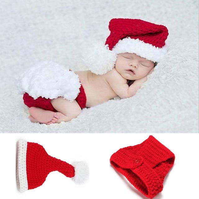 Lindo bebé niños niñas sombrero Navidad Santa trajes Crochet traje ...
