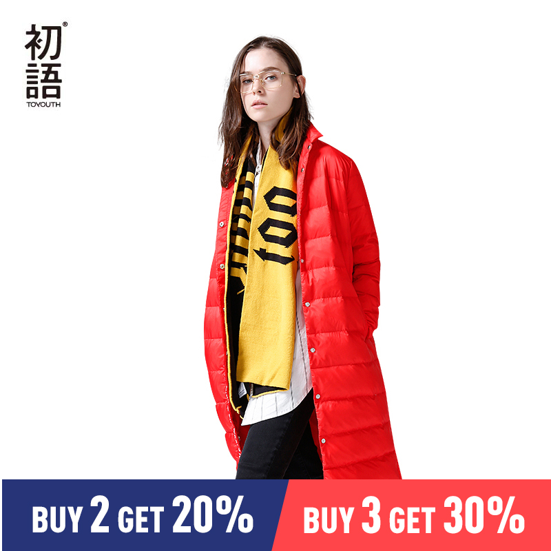 Toyouth Down Coats 2019 Winter New Arrival Thick Long Turndown Collar Letters Printing Casual Down Coat