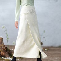 Life In The Left 2018 Autumn Winter Linen Wool Skirts Vintage Embroidered Elegant OL Formal All match Straight Skirts Female