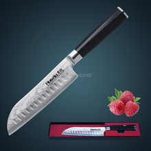 Huiwill brand 7″ Japanese VG10 Damascus carbon stainless steel kitchen santoku chef knife with forged G10 handle kitchen tool