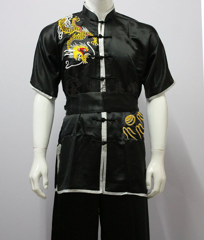 цена High quality Kung Fu clothing tai chi suit Embroidery dragon Martial Arts wushu changquan performance uniform for adult children онлайн в 2017 году