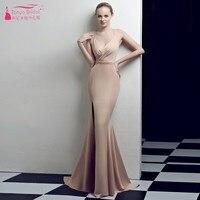 Blush Pink Mermaid Bridesmaid Dresses V Neck Side Split Backless Wedding Guest Formal Gowns 2019 Vestido De Festa ZB077