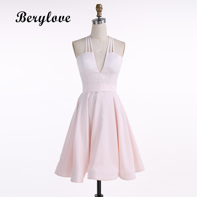 2c9f0cf8071 BeryLove Short Pink Homecoming Dresses 2018 Mini Homecoming Gowns Satin Graduation  Dresses Simple Cocktail Dresses Party Gowns