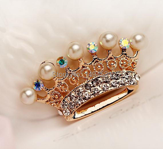 Freshwater Pearl Brooch , 7.5mm White Color Imperial Crown Brooch , Perfect Bridesmaid Wedding Jewelry , Free Shipping