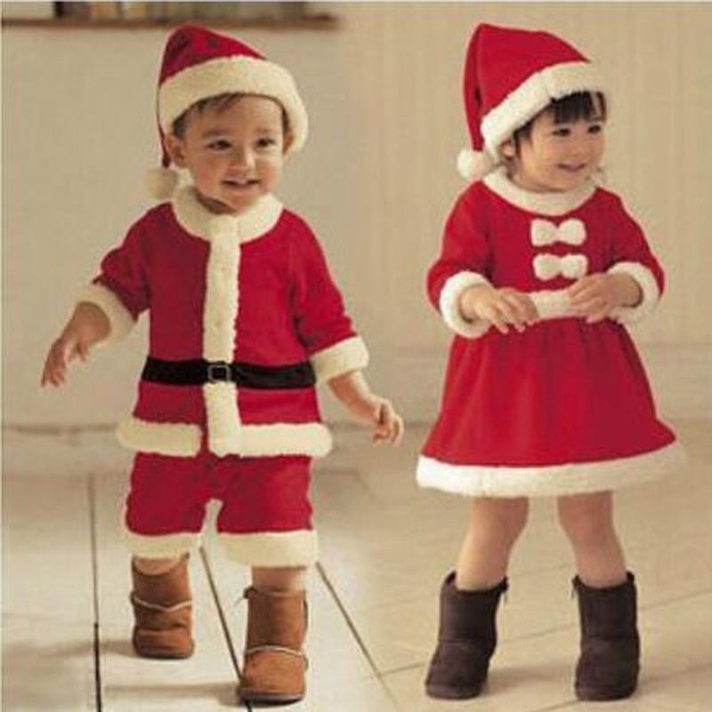 niños ropa de la navidad fijó 12m-3y niños bebés niñas traje de navidad y santa