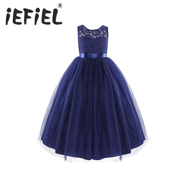 5a1e70c23f118 Bleu marine enfants filles sans manches Tulle dentelle fleur fille robe  princesse Pageant mariage demoiselle d