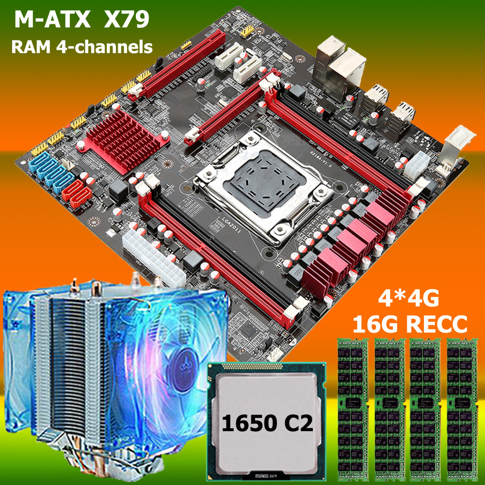 OEM M ATX RAM 4 channels X79 motherboard CPU RAM combos with CPU cooler processor Xeon E5 1650 RAM 16G(4*4G) DDR3 RECC -in Motherboards from ...