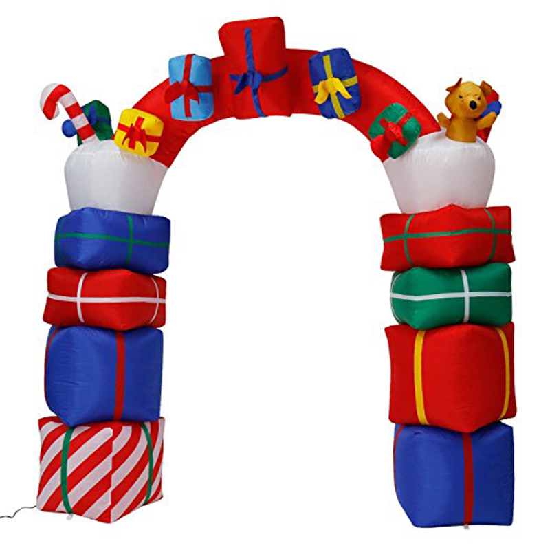 240cm 7.8' Giant Inflatable Santa Arch Garden Yard Archway LED Light with Air Pump Christmas Halloween Props Party Blow Up Decor air shipping christmas archway airblown animated inflatable gingerbread house with led lights for yard decoration