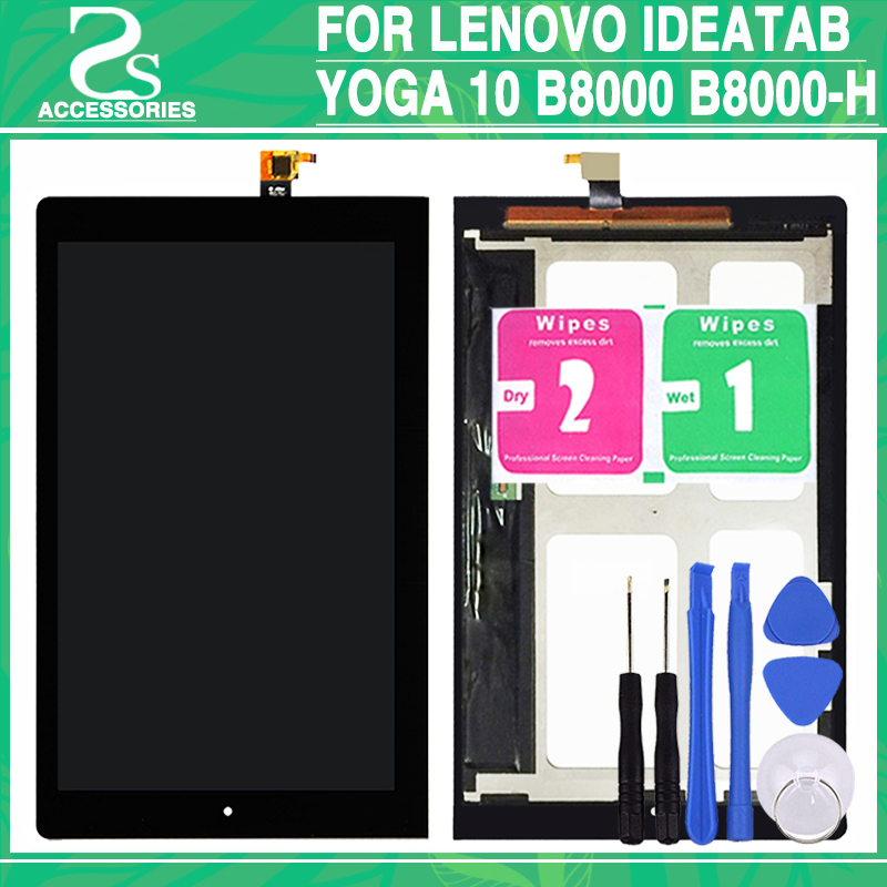 New B8000 LCD touch screen For Lenovo IdeaTab Yoga 10 B8000 B8000-H HD Display Touch Panel Digitizer Sensor Glass Lens with tool 10 1 for lenovo b8000 b8000h b8000 h 60046 yoga display assembly full lcd with frame digitizer touch screen 10 mcf 101 1093 v3