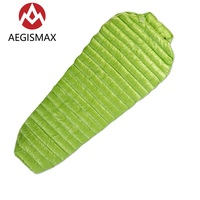 Aegismax Ultralight Lengthened Mummy Sleeping Bag White Goose Down Outdoor Camping Sewn Through Black Green 200x80cm