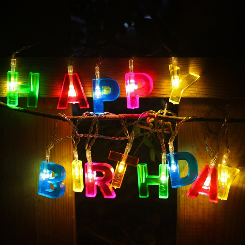 1X 1.3M 13 LED HAPPY BIRTHDAY LED Fairy String Lights Battery Operated Letter Shaped Birthday Decorations Party Gift Garland Led