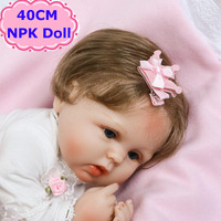 NPK Doll New Lovely 40cm Reborn Baby Doll Handmade Silicone Soft Body Menina Toys Lifelike Bebe
