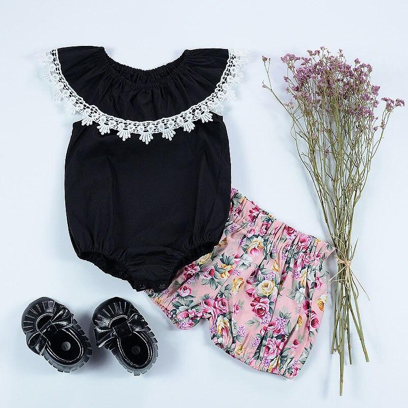 CN zomer baby meisje bodysuits katoen kant zwart mouwloos Jumpsuit - Babykleding - Foto 3