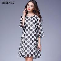 MUSENDA Plus Size Women Black Dot Chiffon Lining Short Dress 2017 Autumn Female Casual Beach Dresses