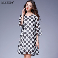 MUSENDA Plus Size Women Black Dot Chiffon Lining Short Dress 2017 Autumn Female Casual Beach Dresses