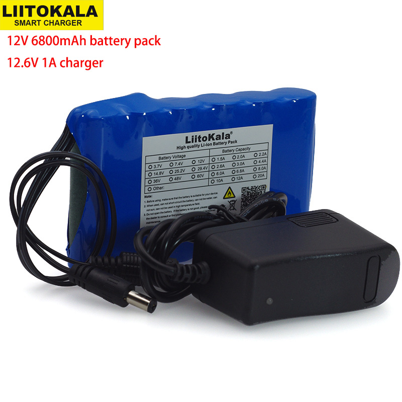 LiitoKala Portable Super 18650 Rechargeable Lithium Ion battery pack capacity DC 12 V <font><b>6800</b></font> Mah CCTV Cam Monitor 12.6V 1A Charger image