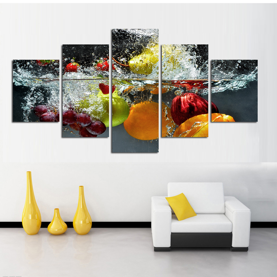 5 Panel Wall Art Painting print On Canvas Picture  Modern Fruit - Home Decor - Photo 3