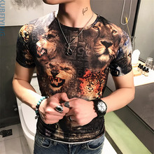 2017 summer t shirt Men's fashion leisure pattern short sleeves t-shirts Men's high-end silk fabric T shirts size