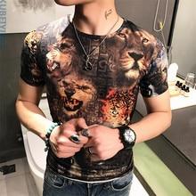 2017 summer t shirt Men's fashion leisure pattern short sleeves t-shirts Men's high-end silk fabric T shirts size
