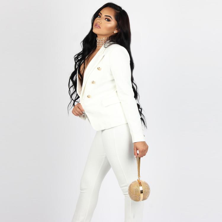 Black White Pants Suit Women Business Formal 2 Piece Pant Set Female (12)
