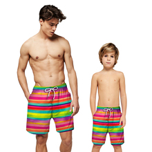 Summer Adult Children Beach Boxer Shorts Flag Printed Colorful Striped Loose Drawstring Casual Short Pants Beachwear