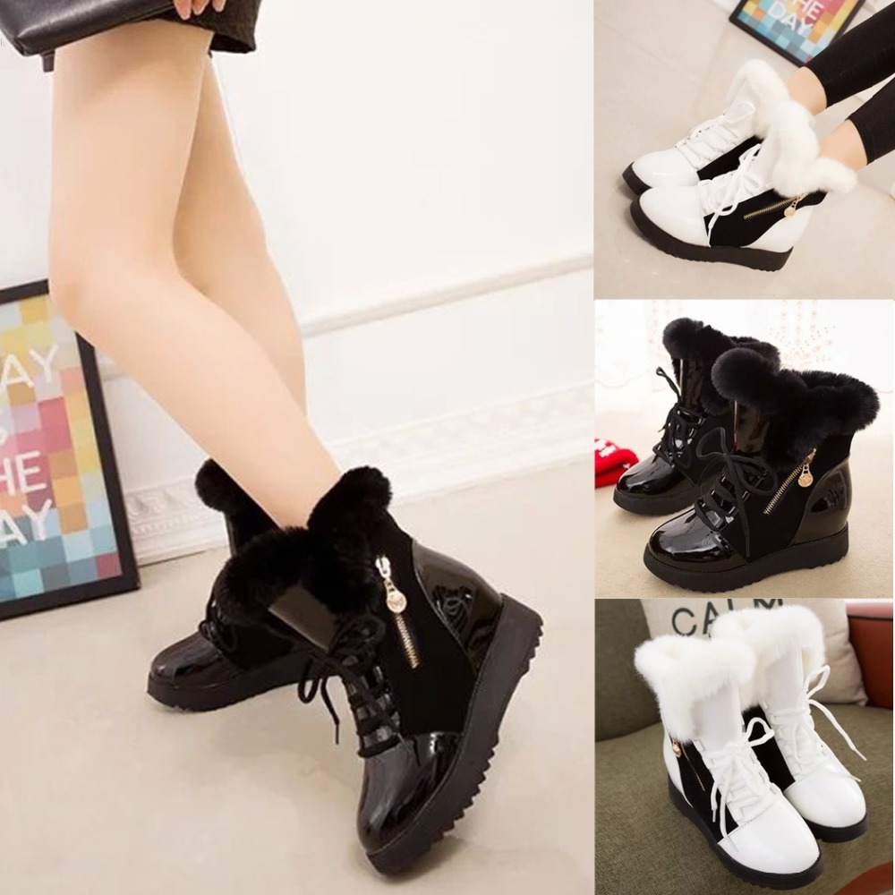 9117530dca359 Winter Warm Shoes Fashion Women Winter Warm Lace Up Ankle Snow Boot Flat  Heel Fleece Lined Size 36 40 2 Colors-in Snow Boots from Shoes on  Aliexpress.com ...