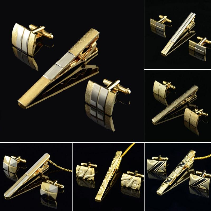 Gold Tie Clip And Cufflink Set For Men Classic Meter Tie Clips Cufflinks Sets Copper Tie Bar Golden Tie Collar Pin Jewelry