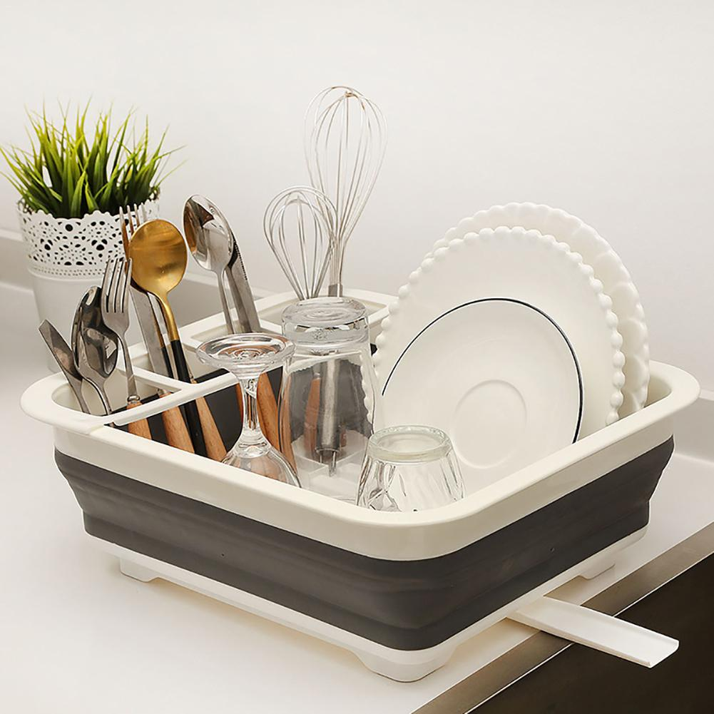 New Foldable Dish Plate Rack Tableware Rack Portable Bowl Rack TPR Bowl Basket Sink Design Folding Drying Dish Rack