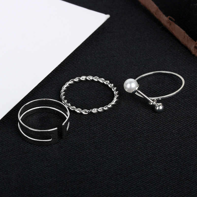 Simulated Pearl Open Ring Sets Silver Color Double Layer Hollow Midi Finger Knuckle Rings For Women Jewelry Adjustable 3 Pcs/Set
