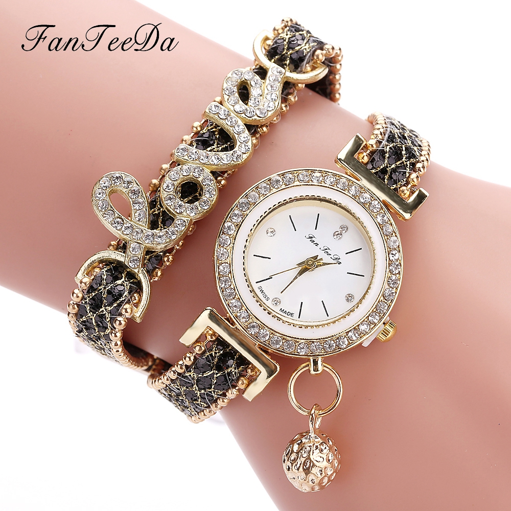 FanTeeDa Top Brand Women Bracelet Watches Ladies Love Leather Strap Rhinestone Quartz Wrist Watch Luxury Fashion