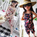 Baby Toddler Girls Kids Summer Sleeveless Floral Jumpsuit Suspender Trousers Pant Playsuit Romper Jumpsuit Top Flower Print