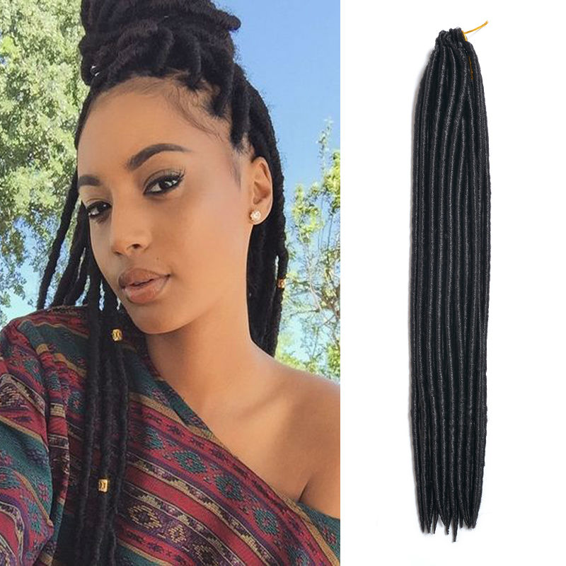 Faux Locs Crochet Hair Dreadlock Extensions 18 Inch 1b Haar