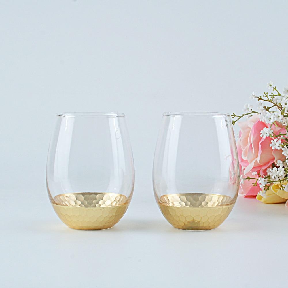 Nouveau design offres spéciales sans tige cristal clair mariage whisky vin verres ensemble or peint brandy tasse bière tasse boire gobelet