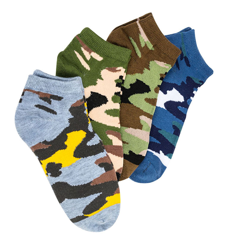 4pairs Men Ankle   Socks   Camouflage Funny Personality Funny   Socks   Spring Winter Breathable Elasticity Art Good Quality   Sock   Meias