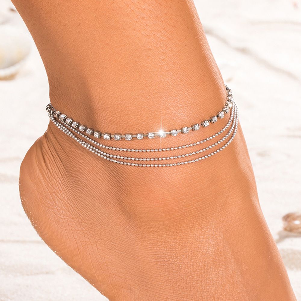 Lovely Girl Shining Crystal Ankle Bracelet Silver Color Multilayer bead chain Anklet Sexy Barefoot Jewelry Women Foot Bracelet