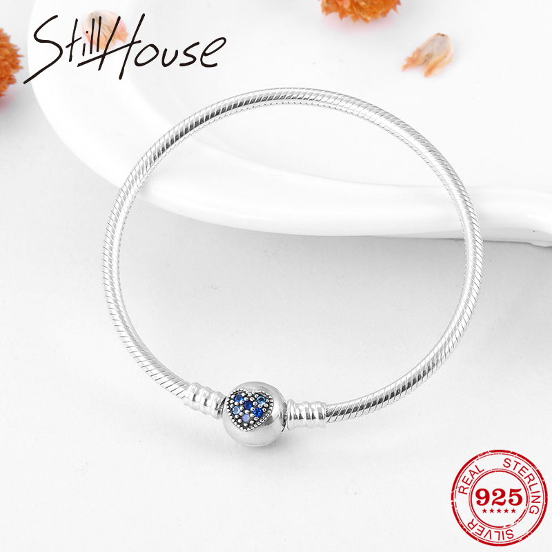 Real 925 Sterling Silver Round shape Heart with Blue CZ Charms  Snake Bone chain Bracelets Fashion Women Jewelry Valentines DayChain