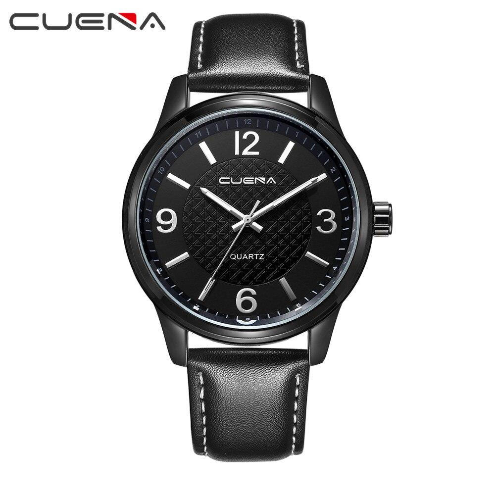"""""""CUENA"""" vyriški laikrodžiai, rankų laikrodžiai, natūralios odos laikrodžiai, atsparūs vandeniui Relogio masculino laikrodžiai 6614"""