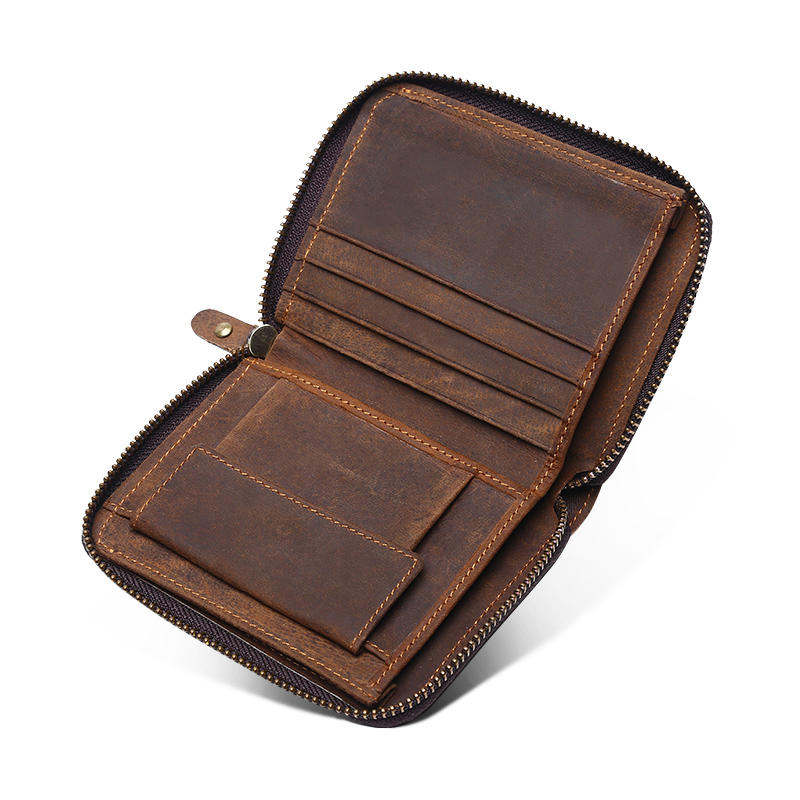 COMFORSKIN Premium 100 Crazy Horse Genuine Leather Retro Zipper Men Purse New Arrivals Fashion Casual Men Wallets Factory Price in Wallets from Luggage Bags