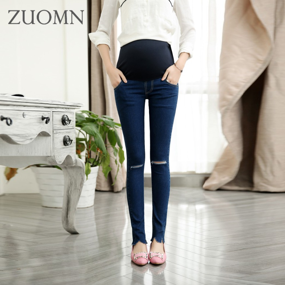 Hole Pregnant Jeans Women Belly Pregnant Women Pants Broken Feet Jeans Denim Pant Maternity Elastic Jean Trousers Y694 liva girl spring women low waist sexy knee hole skinny jeans brand fashion pencil pants denim trousers plus size ripped jeans