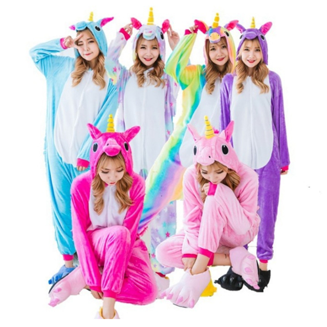 Onesie Wholesale Animal Kigurumi Tigger Star Unicorn onesies Adult Unisex Women Hooded Sleepwear Adult Winter Flannel Jumpsuit