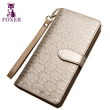 FOXER Girls Casual Clutch Bags Famous designer Women Purse Fashion Gold Lady Leather long Wallets free shipping